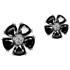 New Black Sapphire Blossom Mixed Stone Stud Earrings