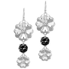 New Black Sapphire Double Blossom Circle Strong Dangles