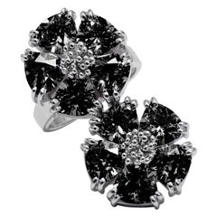 Black Sapphire Double Blossom Stone Ring