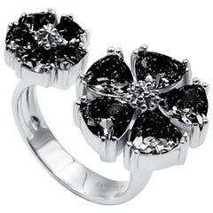Black Sapphire Mixed Blossom Stone Open Ring