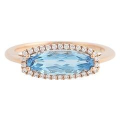 Blue Topaz and Diamond Ring, 14 Karat Rose Gold Halo 1.91 Carat