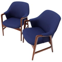 New Blue Wool Upholstery Teak Frames Danish Mid-Century Modern Lounge Chairs
