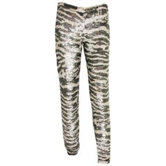 New Blumarine F/W 2010 Sequin Evening Stretch Pants Leggings Tiger Print It. 40