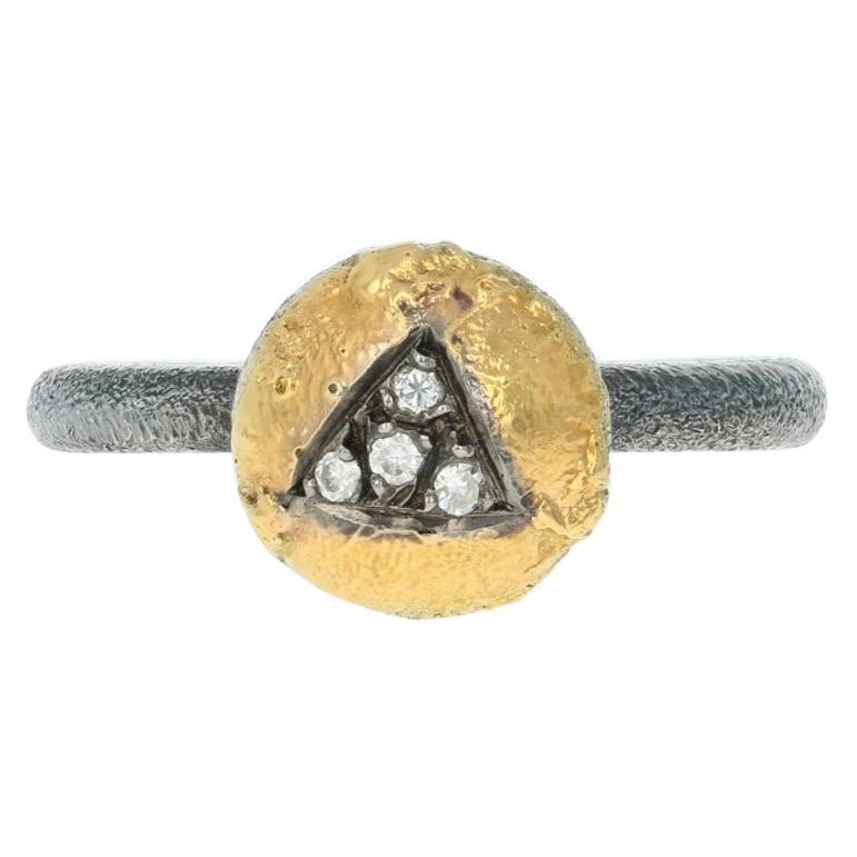 New Bora Diamond Ring, Sterling Silver & 18k Yellow Gold