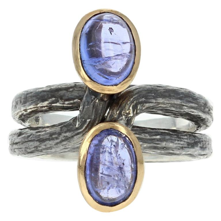 New Bora Oval Cut Tanzanite Set of 2 Rings, Silver & Bronze Stackable