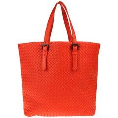 NEW Bottega Veneta Orange XL Intrecciato Nappa Tote Shoulder Shopper Bag