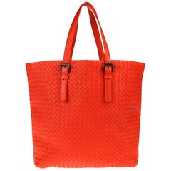 NEW Bottega Veneta Orange XL Intrecciato Nappa Tote Shoulder Shopper Bag
