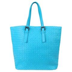 NEW Bottega Veneta Turquoise XL Intrecciato Nappa Tote Shoulder Shopper Bag