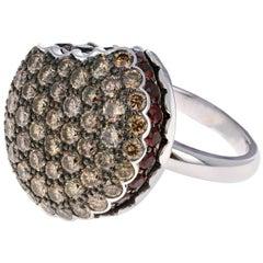 Boucheron Large 18 Karat White Gold Macaron Garnet and Brown Diamond Ring
