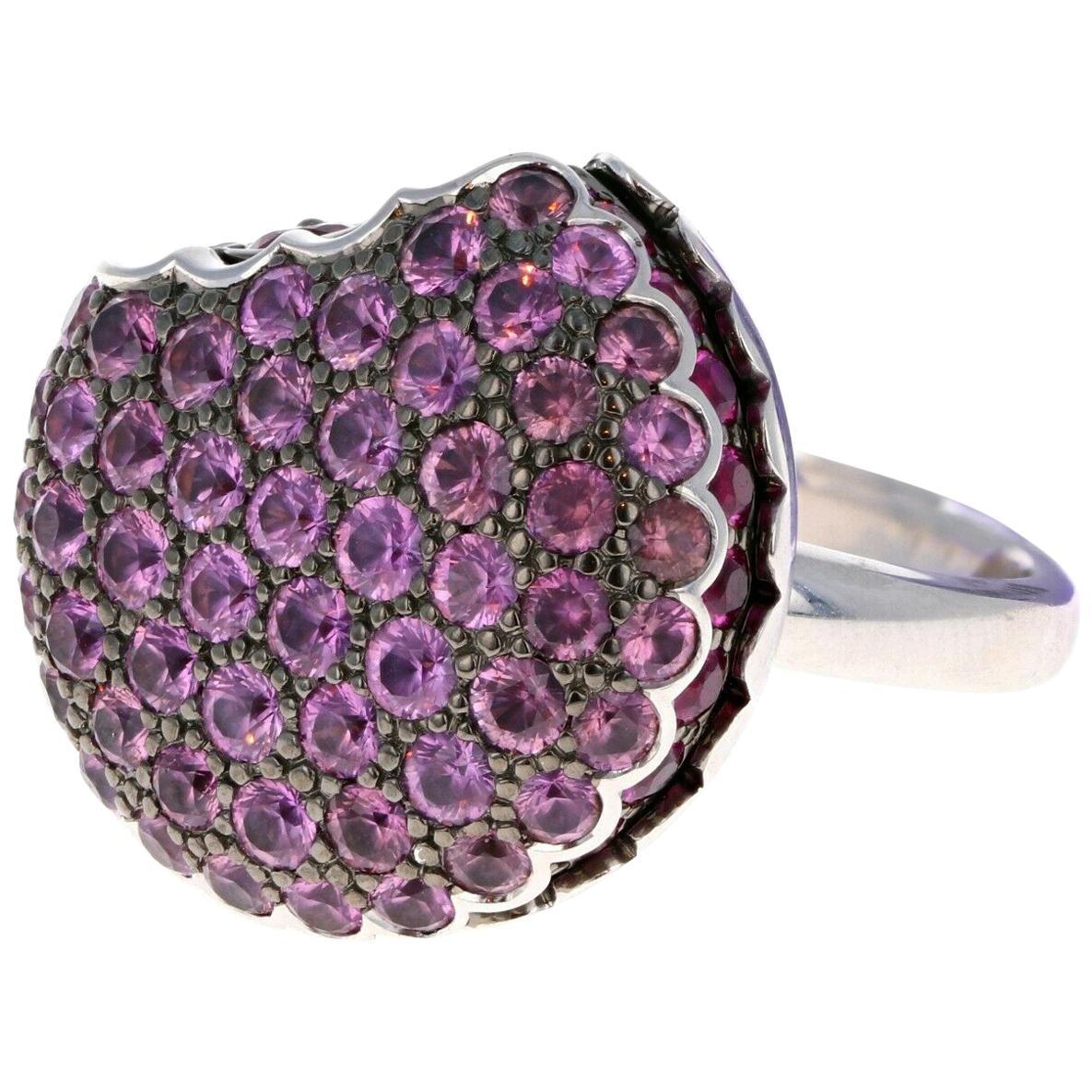 Boucheron White Gold Tentation Macaron Sapphire Ruby Ring