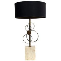 "New Brass Table Lamp ""Elio"" Antiqued Brass and Marble, Made in Italy"