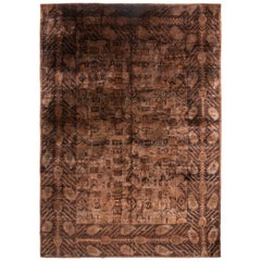 New Brown and Black Wool and Natural Sari Silk Rug