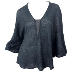 New Brunello Cucinelli Grey + Black Sequin Chain Silk + Linen Poncho Cape Top