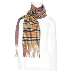 new BURBERRY 100% cashmere brown House Check purple lining fringe scarf