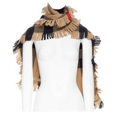 new BURBERRY 100% wooll classic brown House Check fringe trimmed scarf