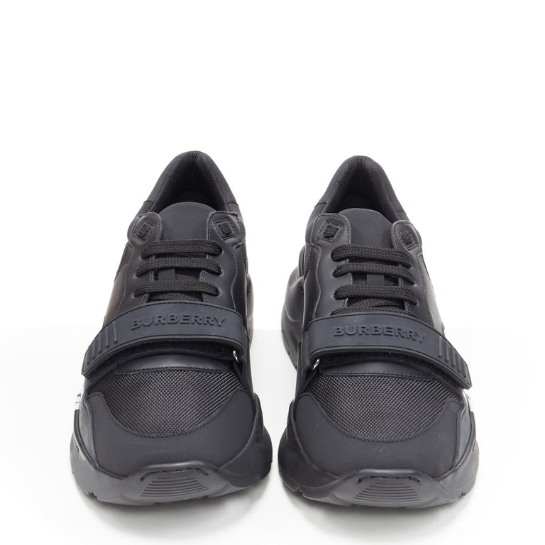 Black new BURBERRY TISCI Ramsey KINGDOM black leather low top chunky sneakers EU43 For Sale