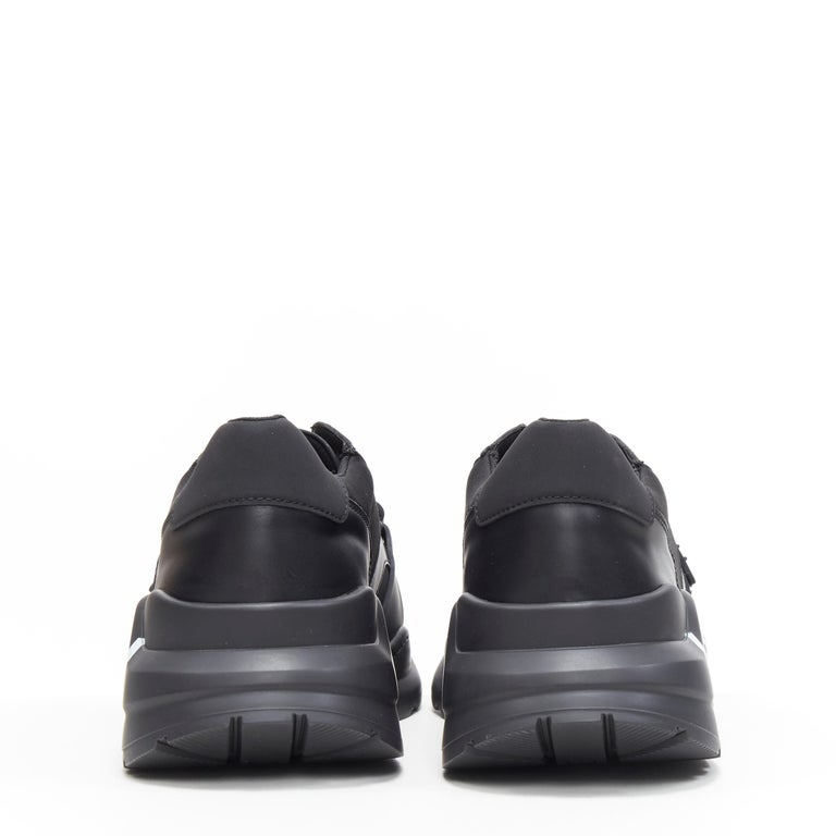 Men's new BURBERRY TISCI Ramsey KINGDOM black leather low top chunky sneakers EU43 For Sale