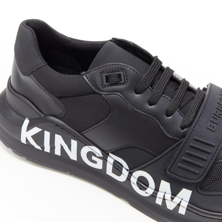 new BURBERRY TISCI Ramsey KINGDOM black leather low top chunky sneakers EU43 For Sale 3