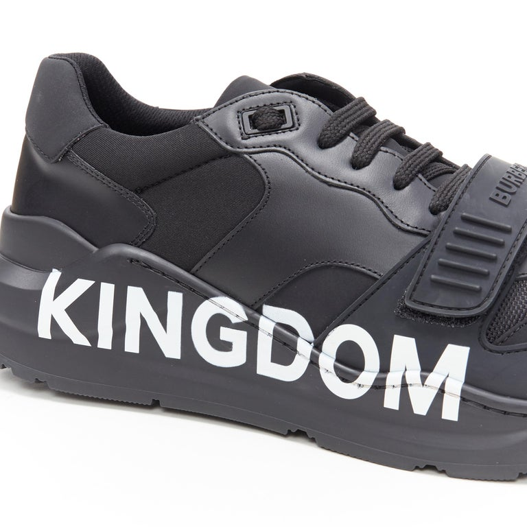 new BURBERRY TISCI Ramsey KINGDOM black leather low top chunky sneakers EU43 For Sale 4