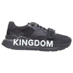 new BURBERRY TISCI Ramsey KINGDOM black leather low top chunky sneakers EU43