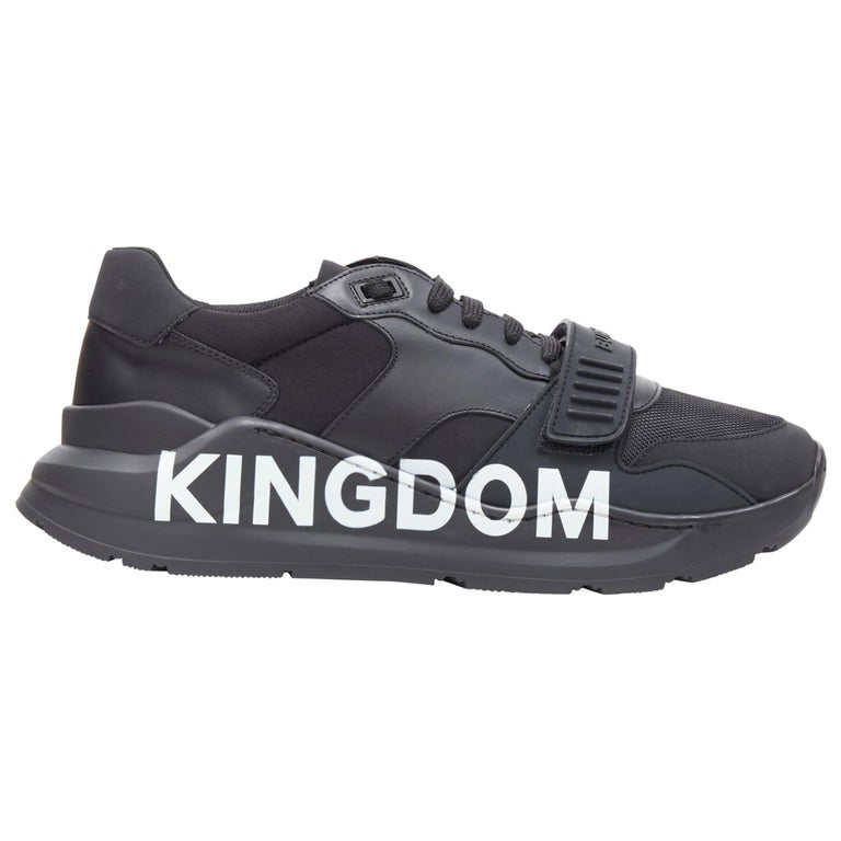 new BURBERRY TISCI Ramsey KINGDOM black leather low top chunky sneakers EU43 For Sale