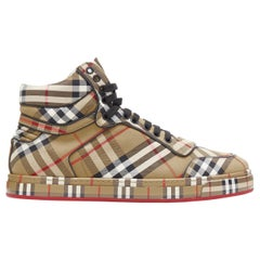new BURBERRY TISCI Redford Antique Yellow House Check high top sneakers EU44