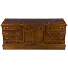 New Burl Walnut Long Credenza File Cabinet