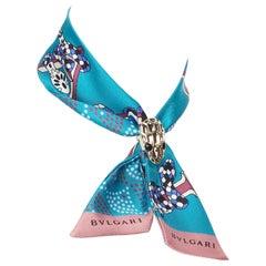 new BVLGARI Serpenti Tie Me Signature Shelleys blue silk neck scarf twilly bag