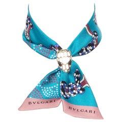 new BVLGARI Serpenti Tie Me Signature Shelleys blue silk twilly bag neck scarf
