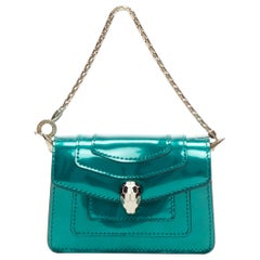 new BVLGARI Serpentine Forever emerald green patent snake flap mico bag charm