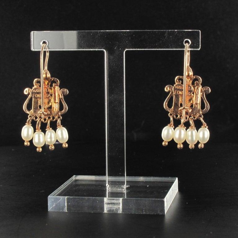 New Carnelian Pearl Renaissance Spirit Vermeil Drop Earrings In New Condition For Sale In Poitiers, FR