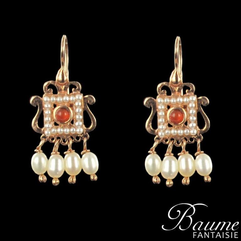 Women's New Carnelian Pearl Renaissance Spirit Vermeil Drop Earrings For Sale