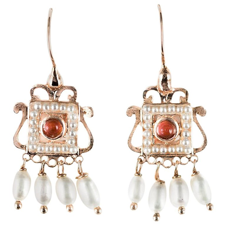 New Carnelian Pearl Renaissance Spirit Vermeil Drop Earrings For Sale