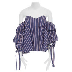 new CAROLINE CONSTAS Gabriella blue red striped sweetheart off shoulder top M