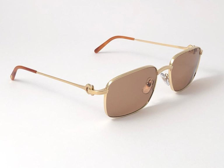 Beige New Cartier 56 20mm Brushed Gold Plated Brown Lenses Sunglasses Made in France For Sale