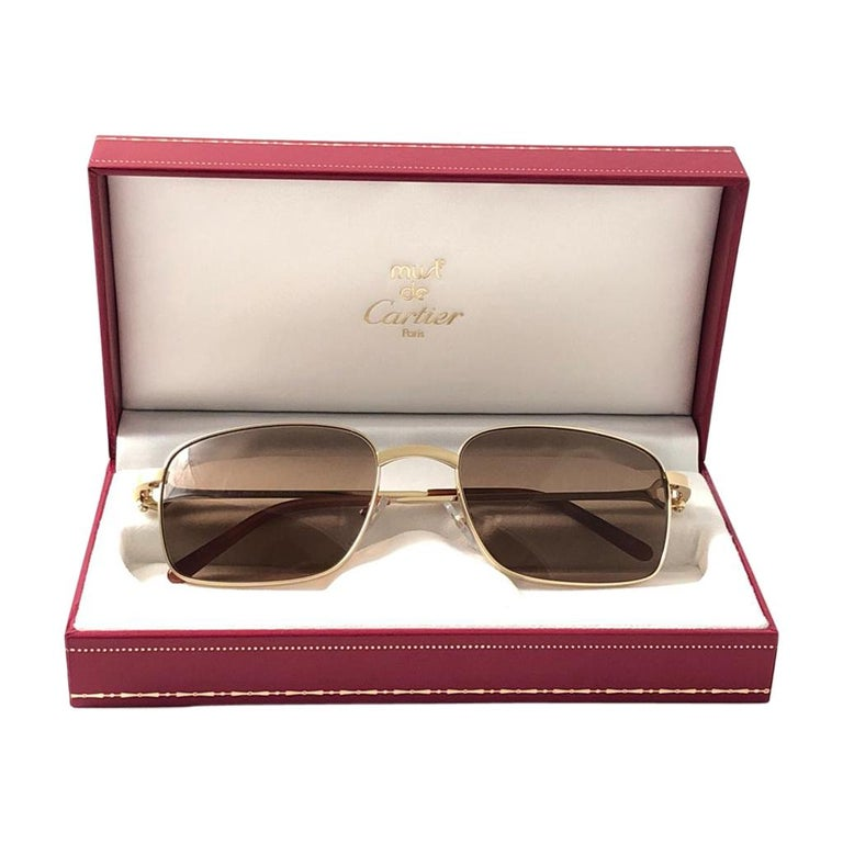 New Cartier 56 20mm Brushed Gold Plated Brown Lenses Sunglasses Made in France For Sale