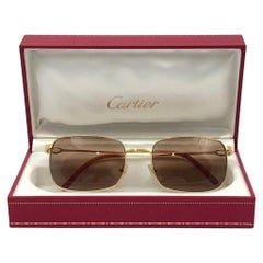 New Cartier 56mm Brushed Gold Plated Brown Lenses Sunglasses Made in France