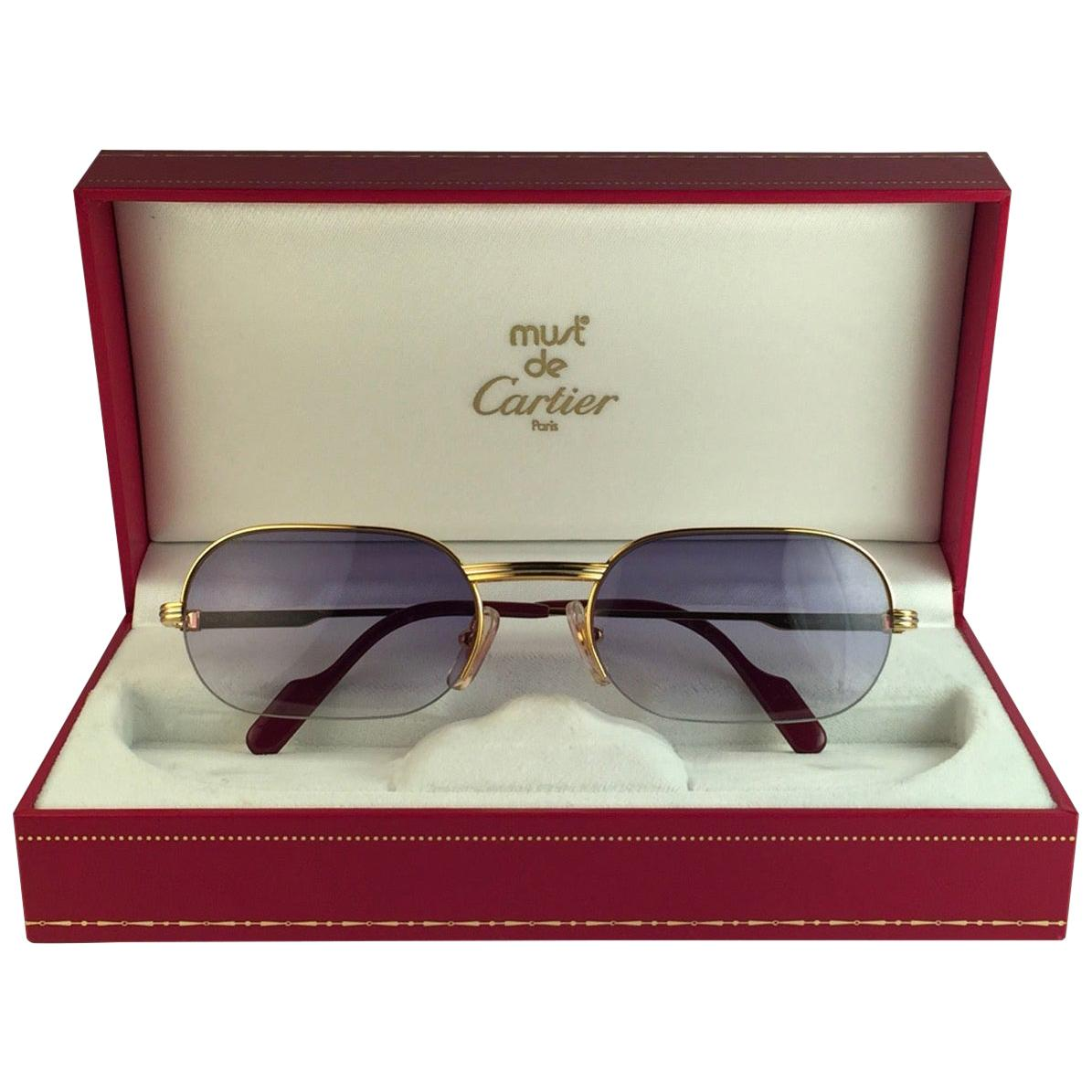 New Cartier Ascot Vendome Gold 53mm Half Frame Sunglasses Elton John France