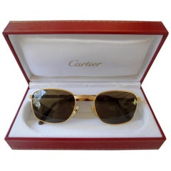 New Cartier Aube Frame Gold 52 19mm Brown Lens France Sunglasses