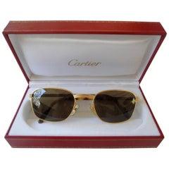 New Cartier Aube Frame Gold 54mm Brown Lens France Sunglasses