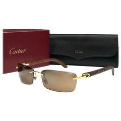 New Cartier Bengali Precious Wood  Full Set Brown Lens France Sunglasses