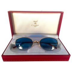 New Cartier Cabochon Half Frame 52mm Sunglasses 18k Gold Sunglasses France
