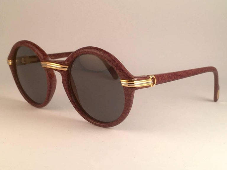 New Cartier Cabriolet Round Brown 52MM 18K Gold Sunglasses France 1990's For Sale 1