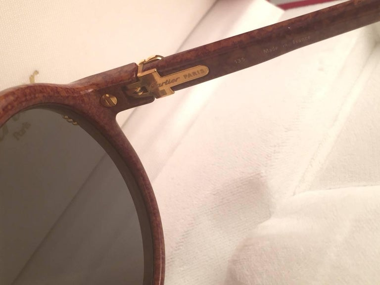 New Cartier Cabriolet Round Brown 52MM 18K Gold Sunglasses France 1990's For Sale 3