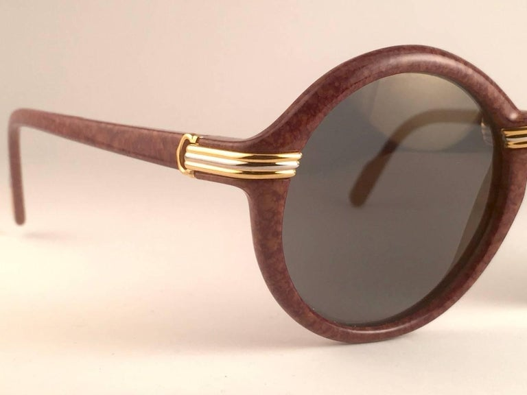 New Cartier Cabriolet Round Brown 52MM 18K Gold Sunglasses France 1990's For Sale 4