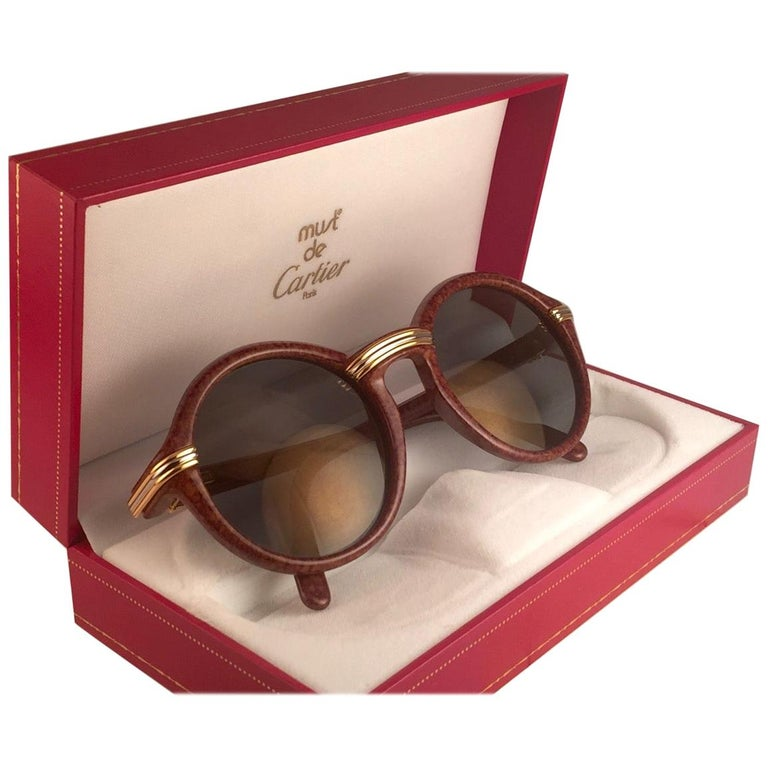 New Cartier Cabriolet Round Brown 52MM 18K Gold Sunglasses France 1990's For Sale