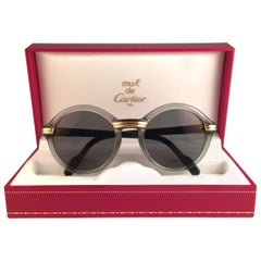 New Cartier Cabriolet Round Jade & Gold 49MM 18K Gold Sunglasses France 1990's