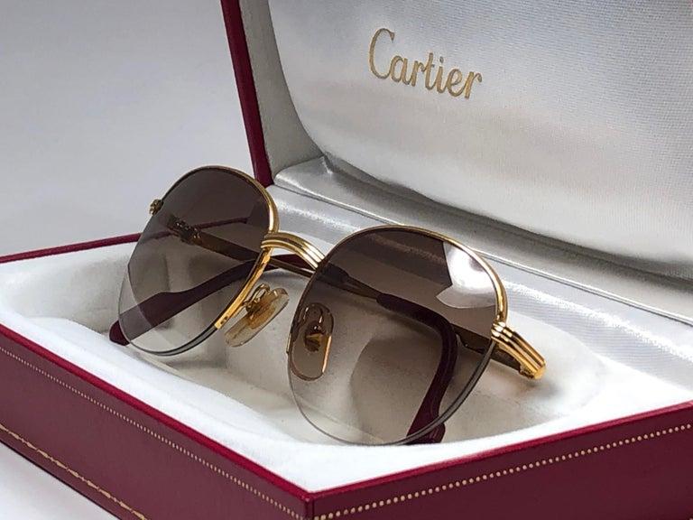 Women's or Men's New Cartier Colisee Half Frame 49mm Sunglasses 18k Gold Sunglasses France For Sale