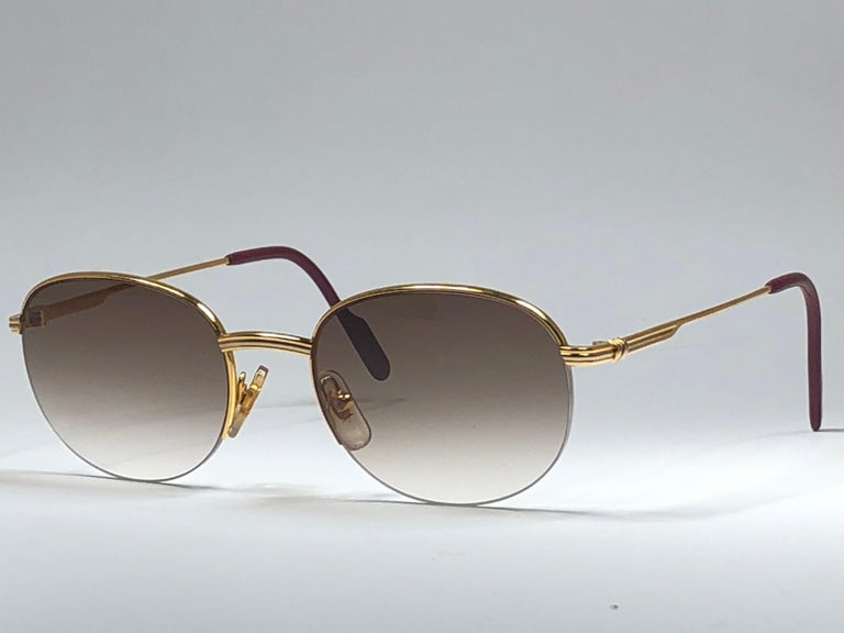 New Cartier Colisee Half Frame 49mm Sunglasses 18k Gold Sunglasses France For Sale 1