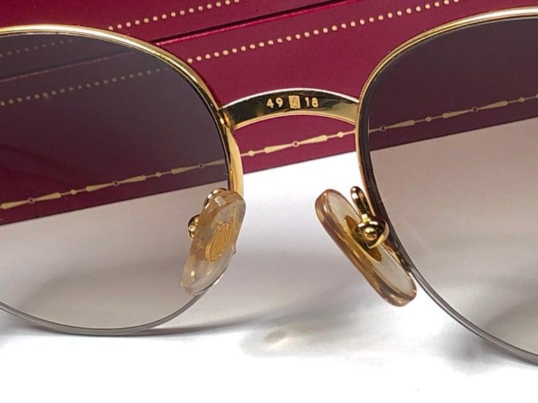 New Cartier Colisee Half Frame 49mm Sunglasses 18k Gold Sunglasses France For Sale 2